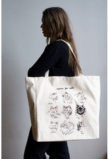 Stay Home Club - XL Tote Bag/Names For Cats/ Natural