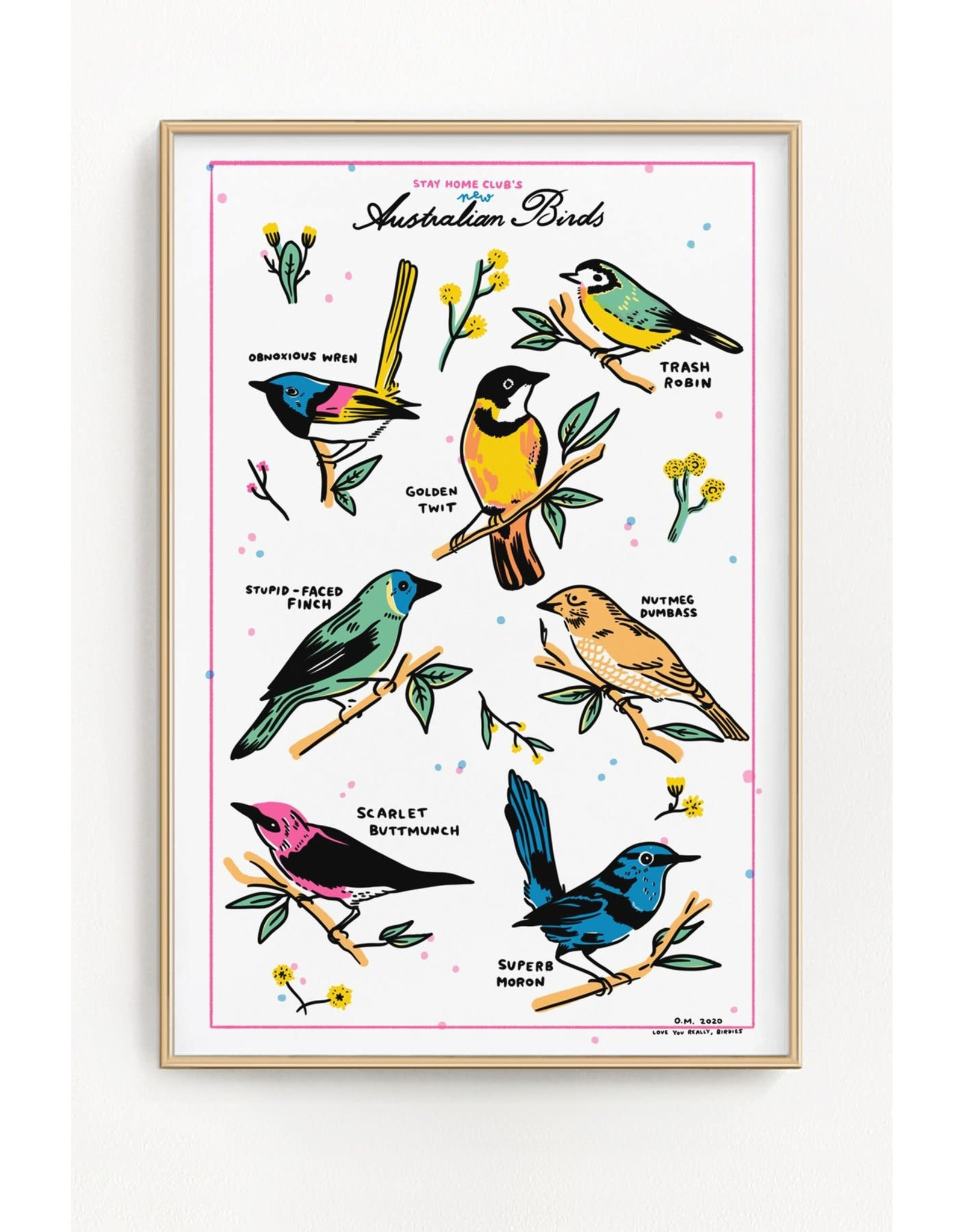 "Stay Home Club - Print/Australian Birds 12"" x 18"""