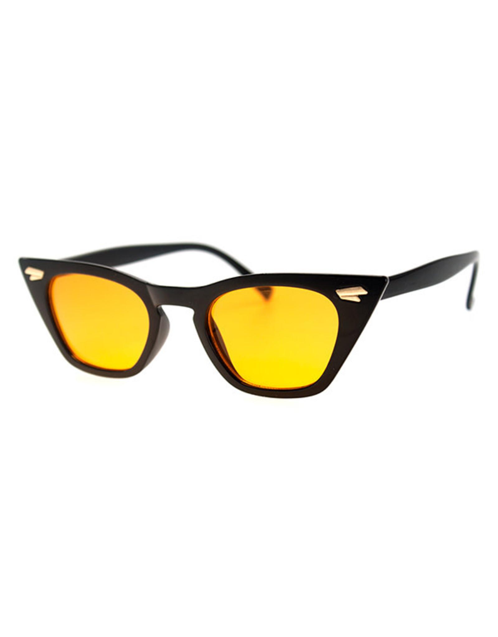 AJM - Skinny Cat-eye Frame Sunglasses Black
