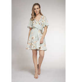 Dex - Short Sleeve Mint Floral Dress