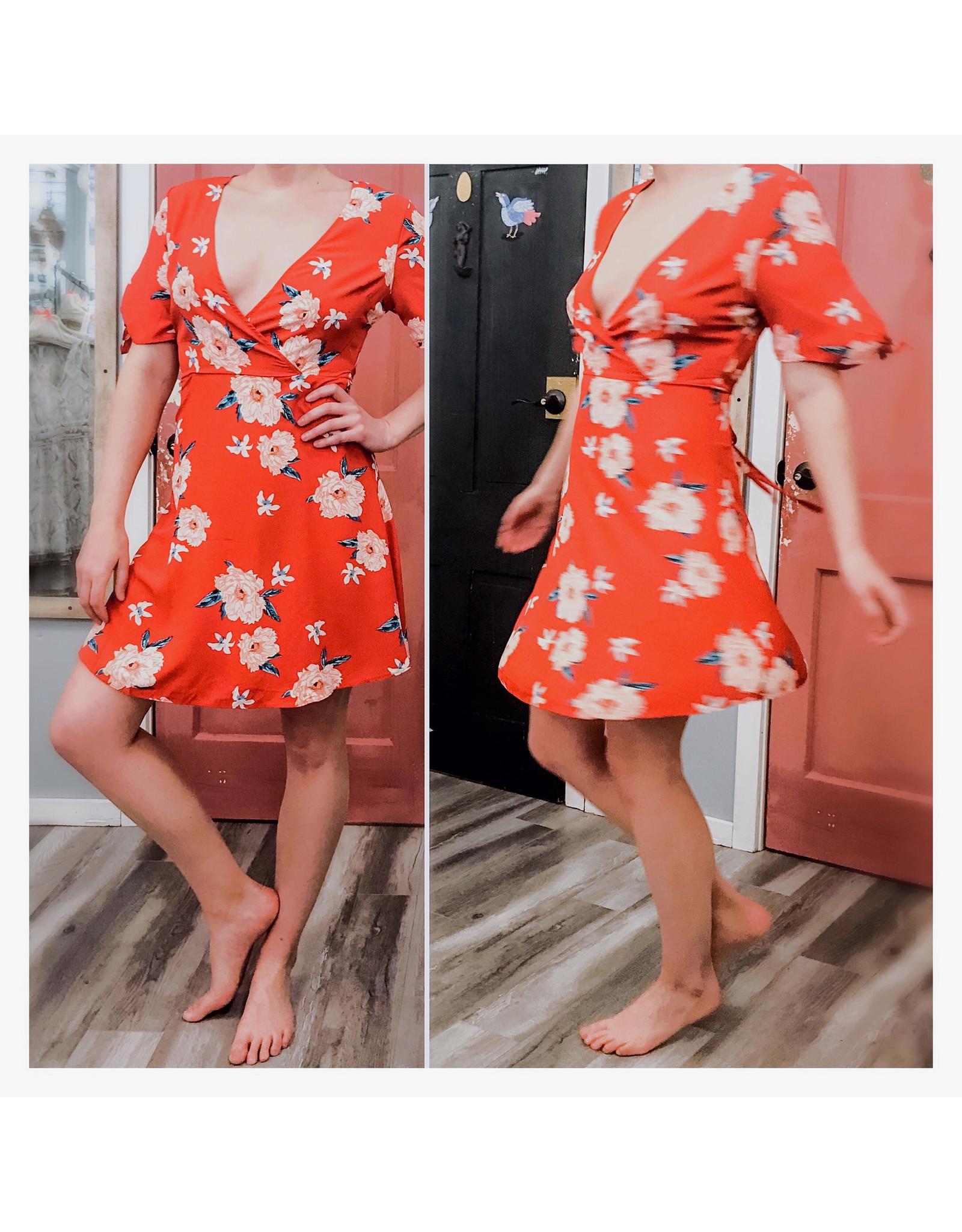 Bonanza - Floral Wrap Bodice Dress