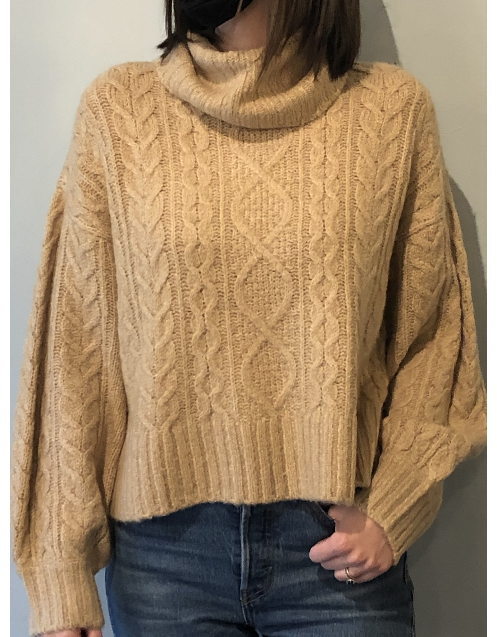 Bonanza - Cropped Cable Knit Sweater