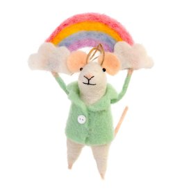 IBA - Felted Ornament/Rainbow Mouse