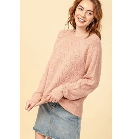 Bonanza - Crew Neck Pointelle Long Sleeve Sweater