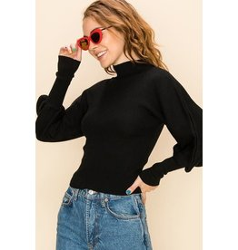Bonanza - Puff Sleeve Ribbed Knit Sweater