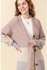 Bonanza - Color-Block Oversized Chenille Cardigan