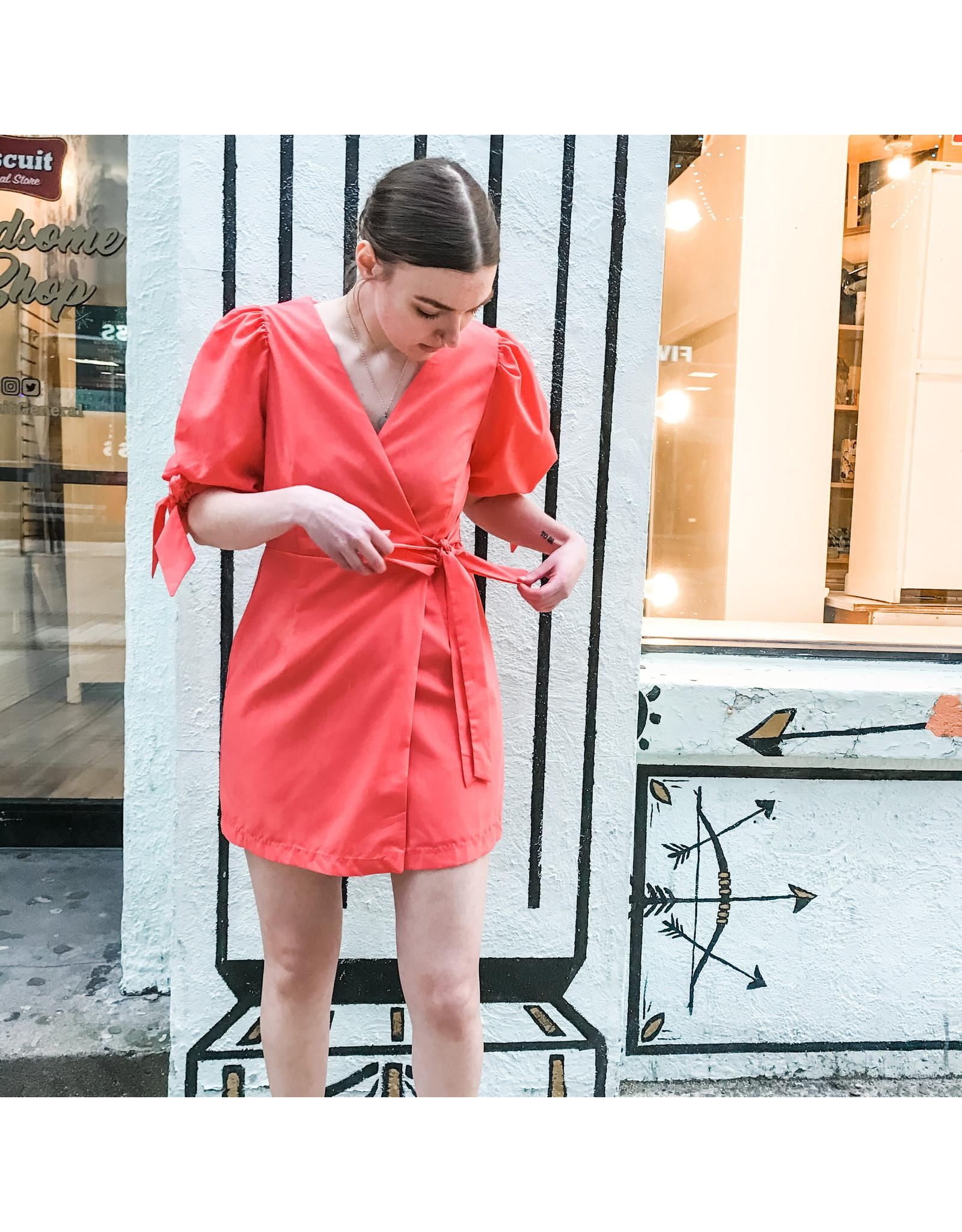 Bonanza - Short Sleeve Wrap Dress/ Coral