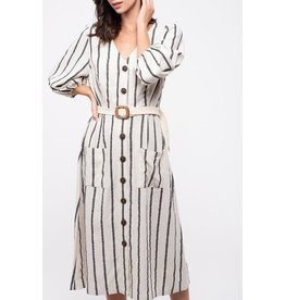 BER - Stripe Button  Dress