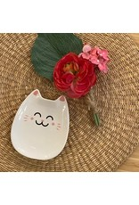 CTG - Lucky Kitty Dish White/ 4.8""