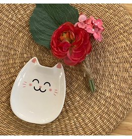 """CTG - Lucky Kitty Dish White/ 4.8"""""""