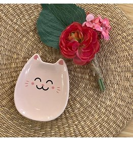 """CTG - Lucky Kitty Dish Pink/ 4.8"""""""