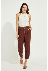 Gentle Fawn - Button Front Linen Pants Burgundy or navy