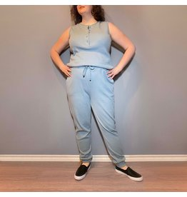 Bonanza - Cozy Waffle Jumpsuit in Blue or Black