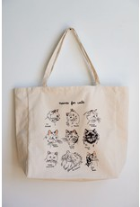 Stay Home Club - XL Tote Bag/Names For Cats/Natural