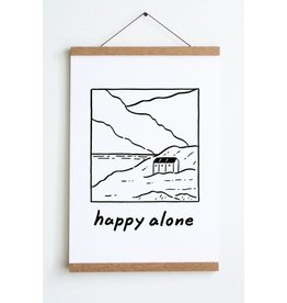 "Stay Home Club - Art Print/Happy Alone 12"" x 18"""