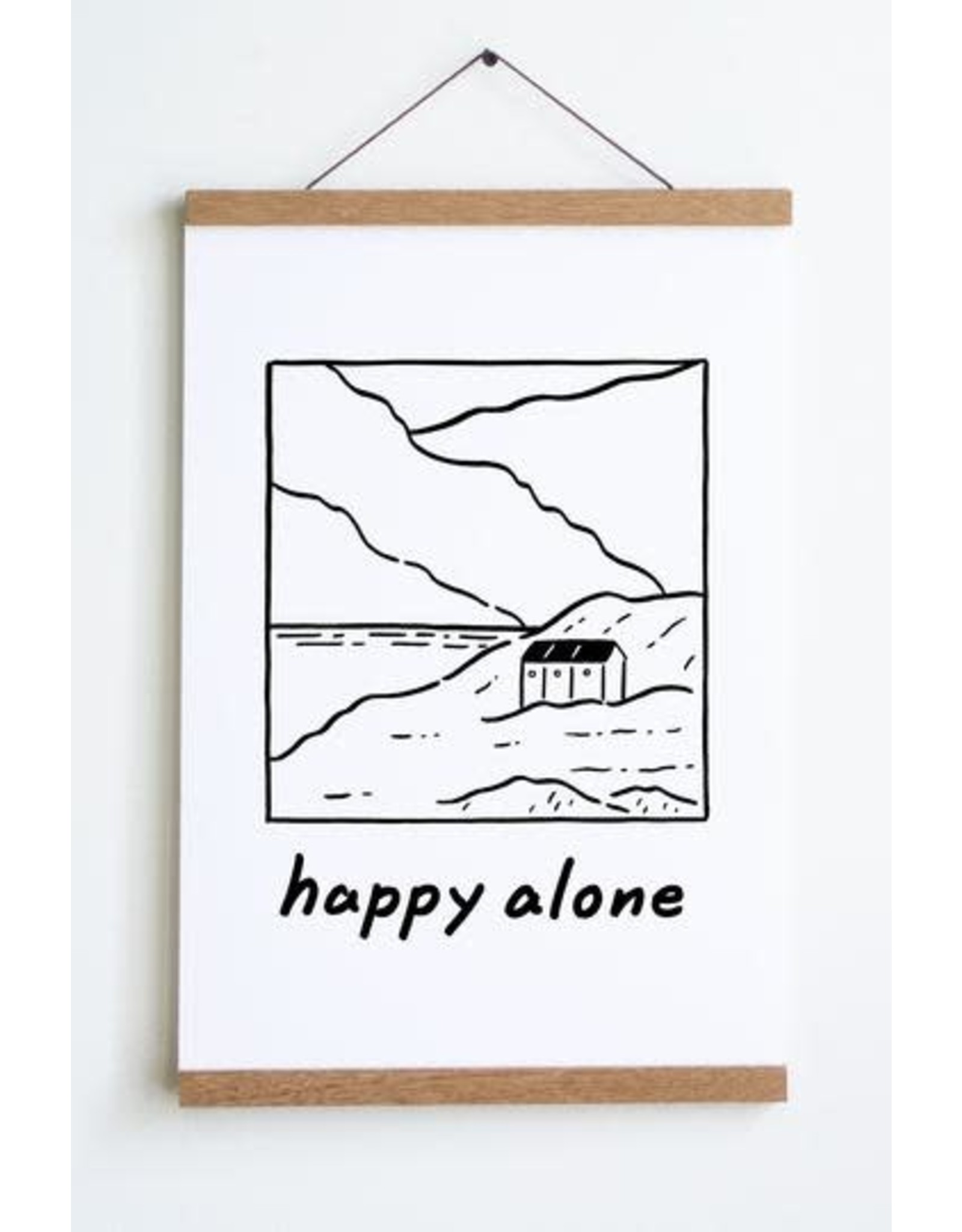 "Stay Home Club - Art Print/Happy Alone 12"" x 18"""