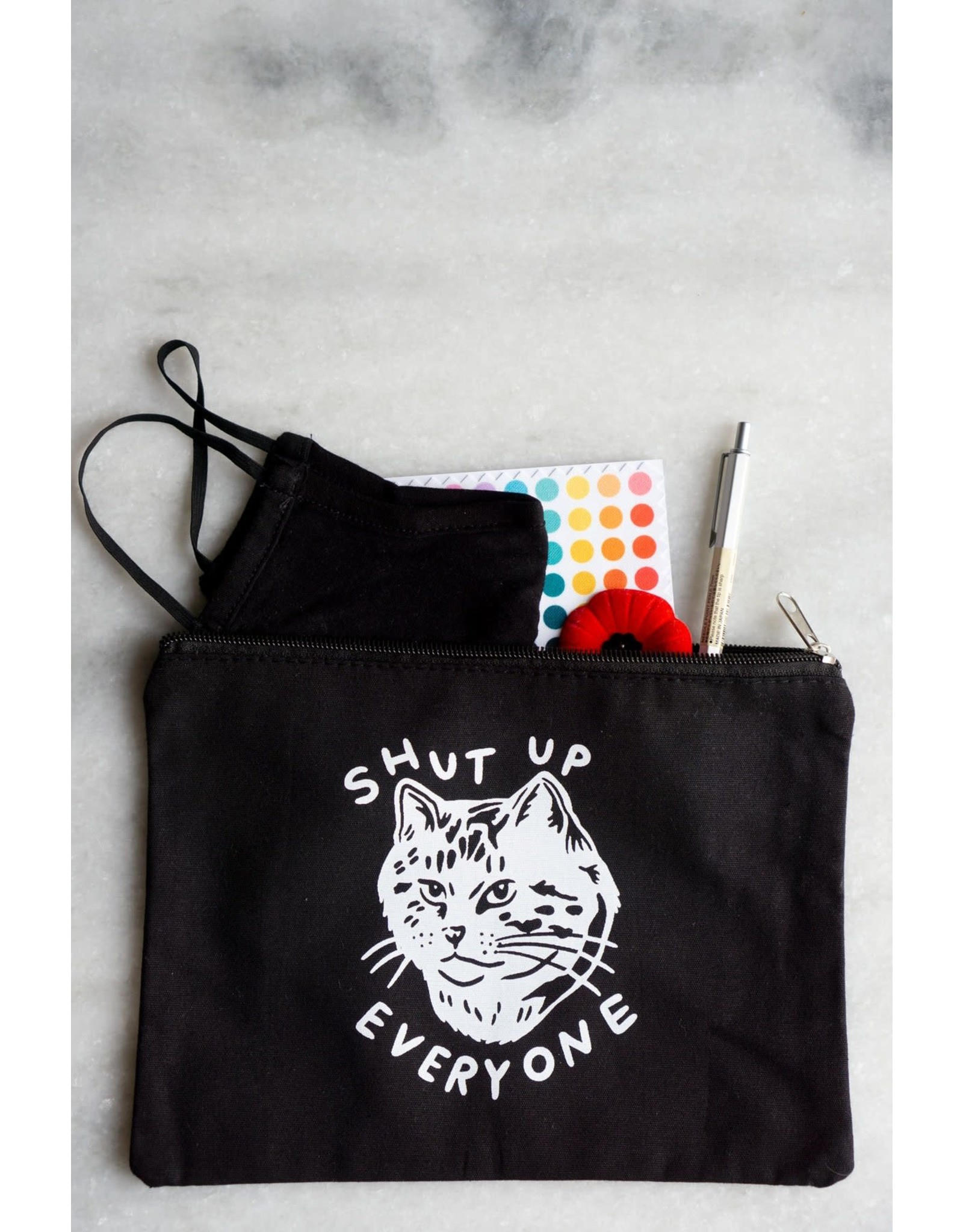 Stay Home Club - Zipper Pouch/Shut Up Everyone Black