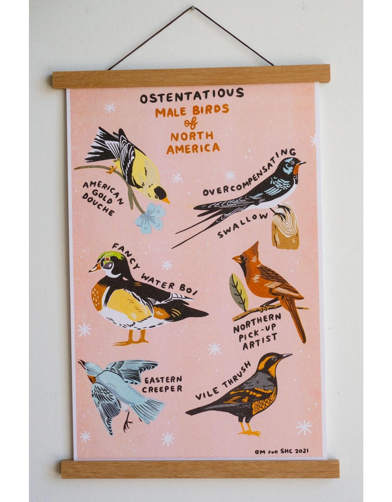 "Stay Home Club - Riso Print/Male Birds 11"" x 17"""