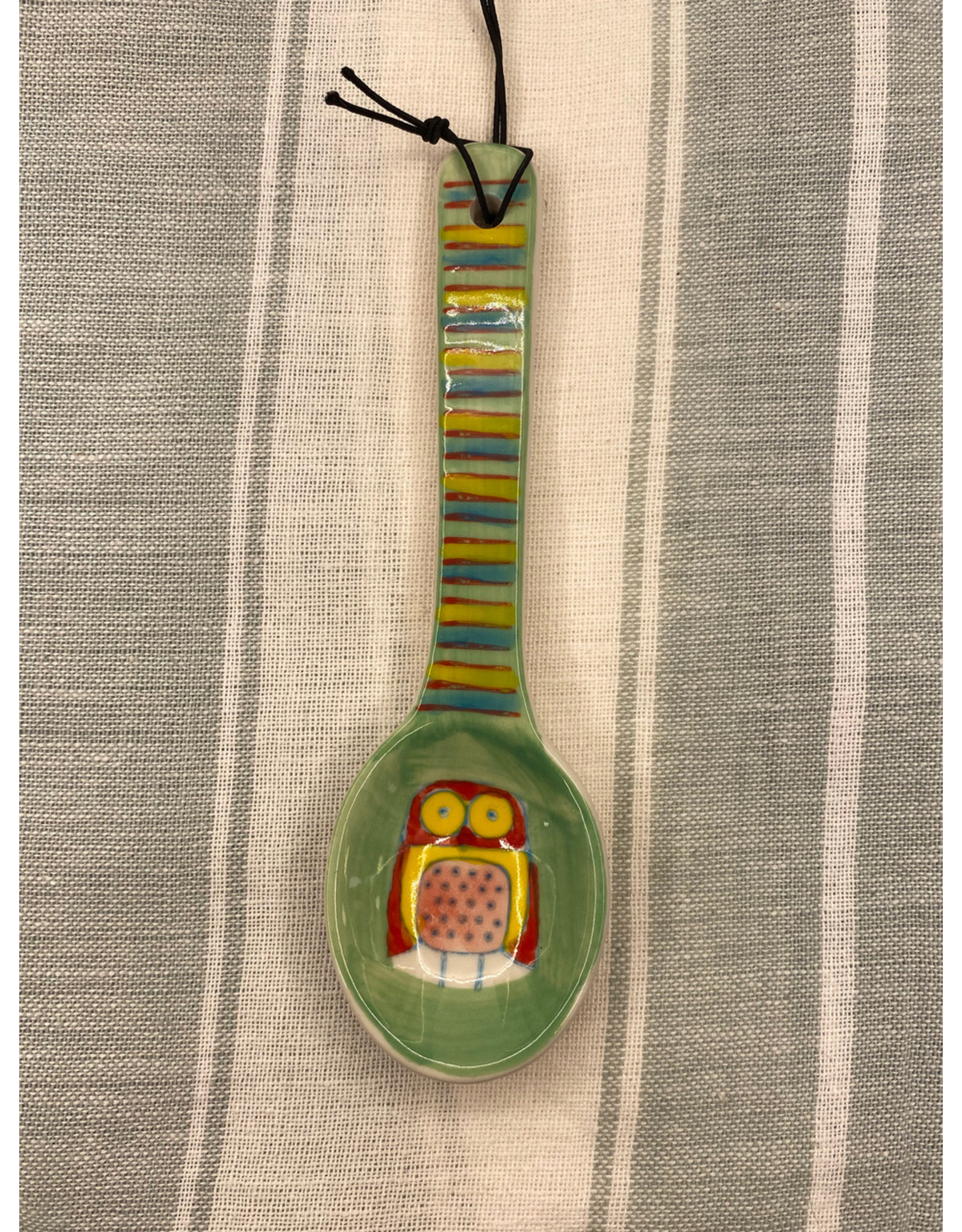 COP - Hand Painted Spoon/Green Owl