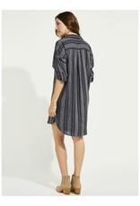 Gentle Fawn - Linen Stripe Shirt Dress With Pockets