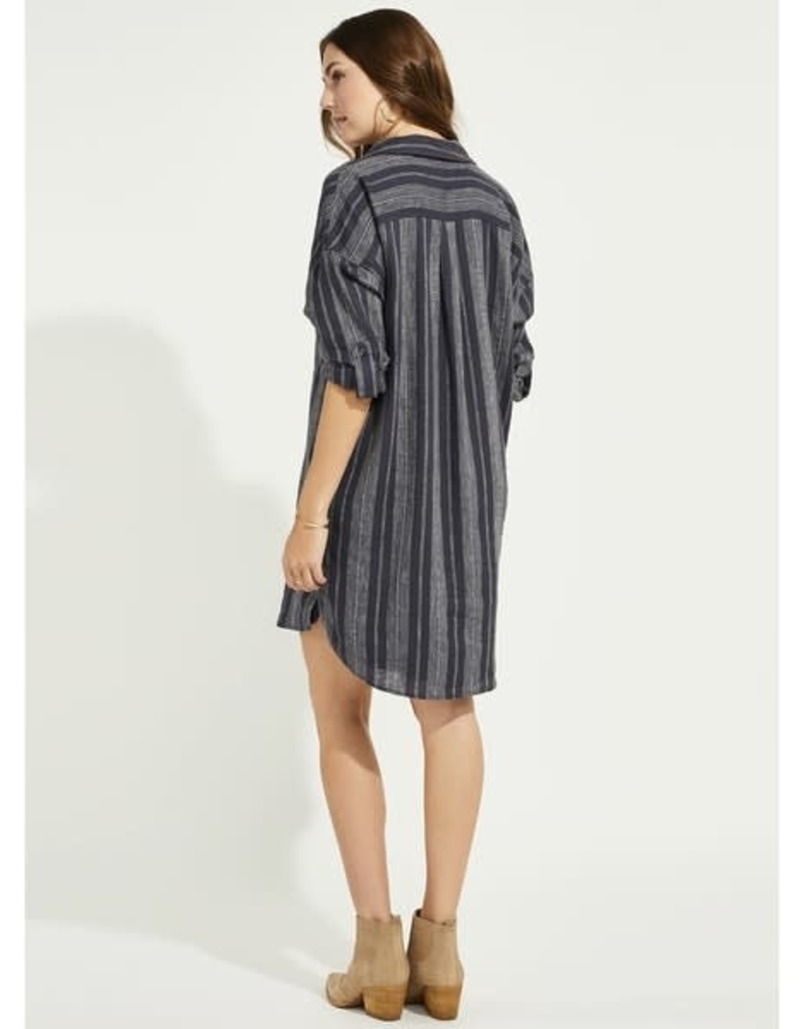 Gentle Fawn - Linen Stripe Shirt Dress With Pockets