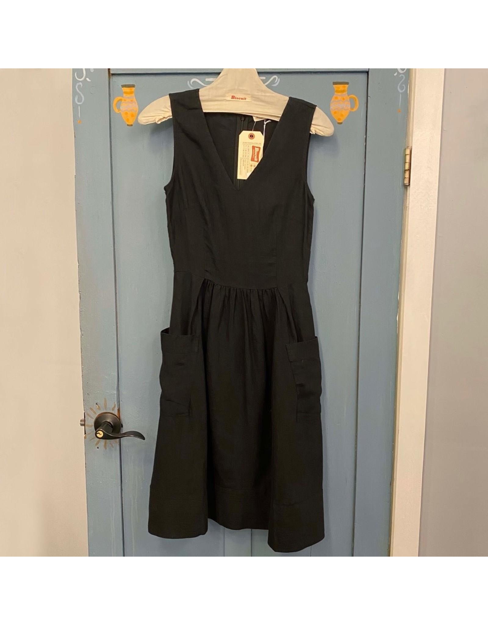 Naif - Linen V-Neck Sleeveless Dress/Black or Marina