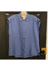 Naif - Linen Short Sleeve Shirt/White or Marine