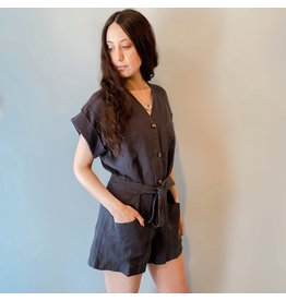 Naif - Linen Button Romper Indigo Grey