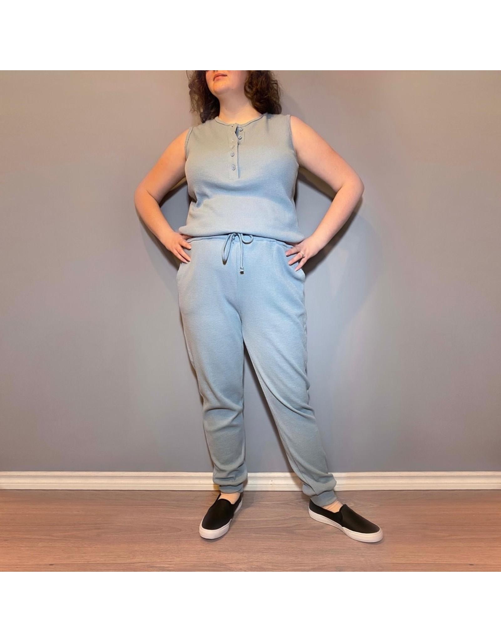 Bonanza - Cozy Waffle Jumpsuit in Blue or Black