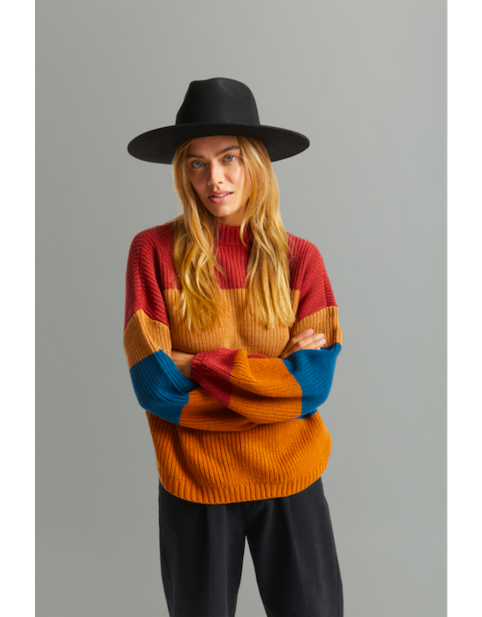 Brixton - Hills Sweater in Twig/Black or Lion