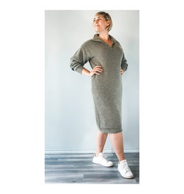 IDK - Ideal Zip Sweater Dress in Tapioca, Vetiver, and Golden Brown