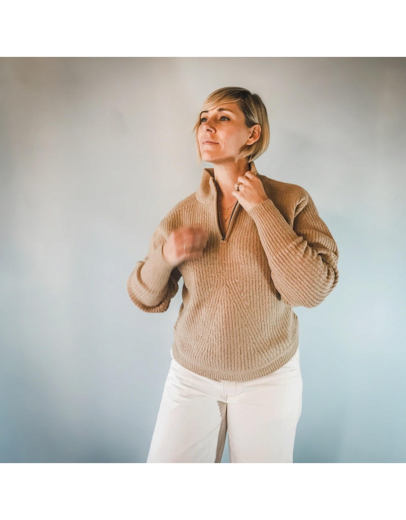 Bonanza - Crew Sweater 1/4 Zip in Cream or White