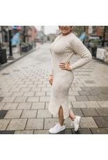 Bonanza - Crew Sweater Dress in Grey or Oatmeal