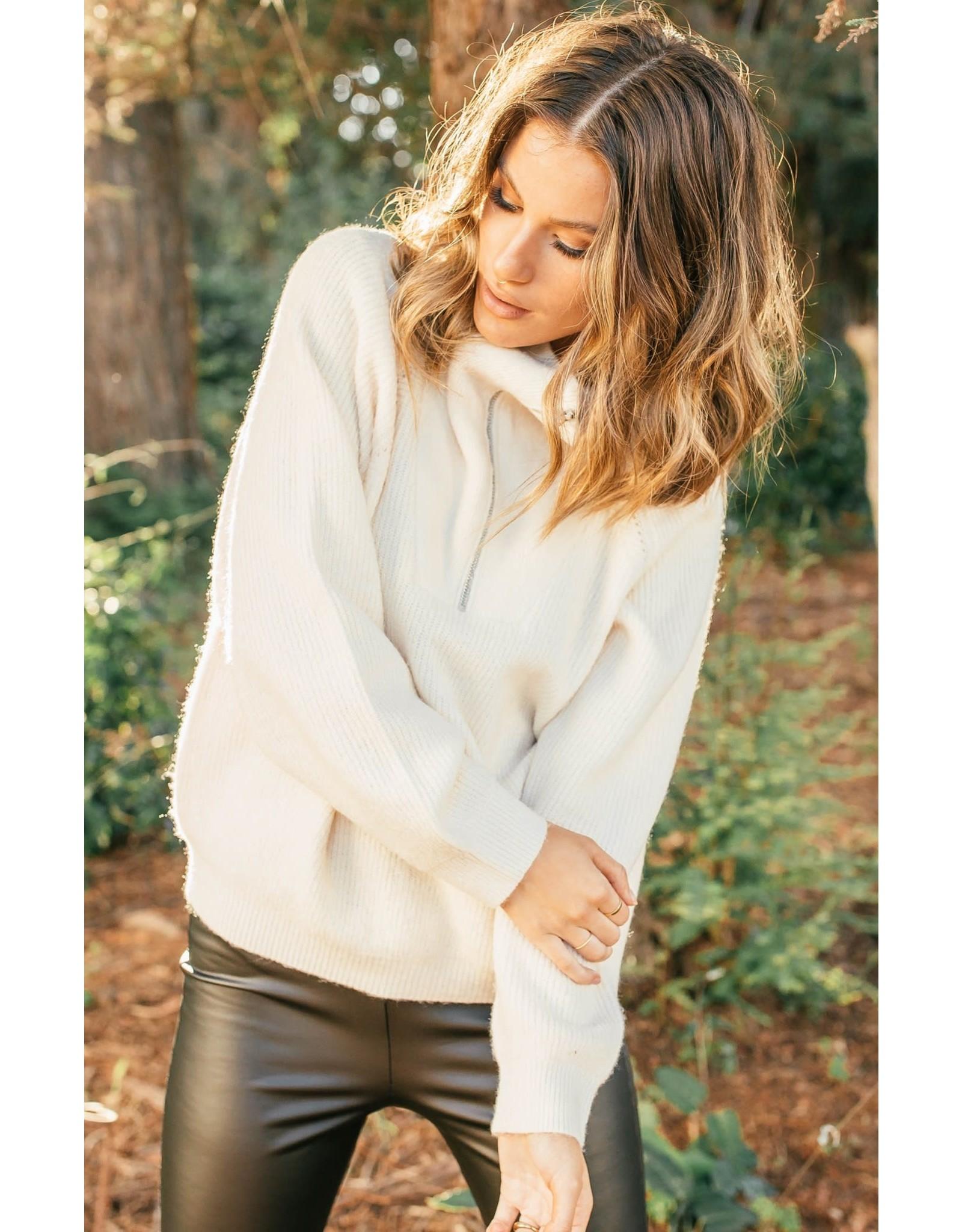 Gentle Fawn - Half Zip Sweater Ecru or Brown