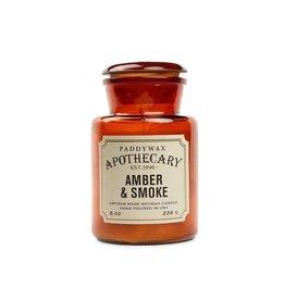 Apothecary Glass Candle   Amber and Smoke, 8oz