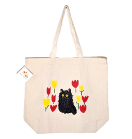 Maud Lewis - Tote/Black Cat & Tulips