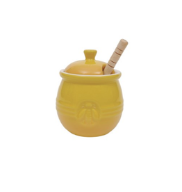 COP - Honey Pot w Wooden Dipper/Yellow