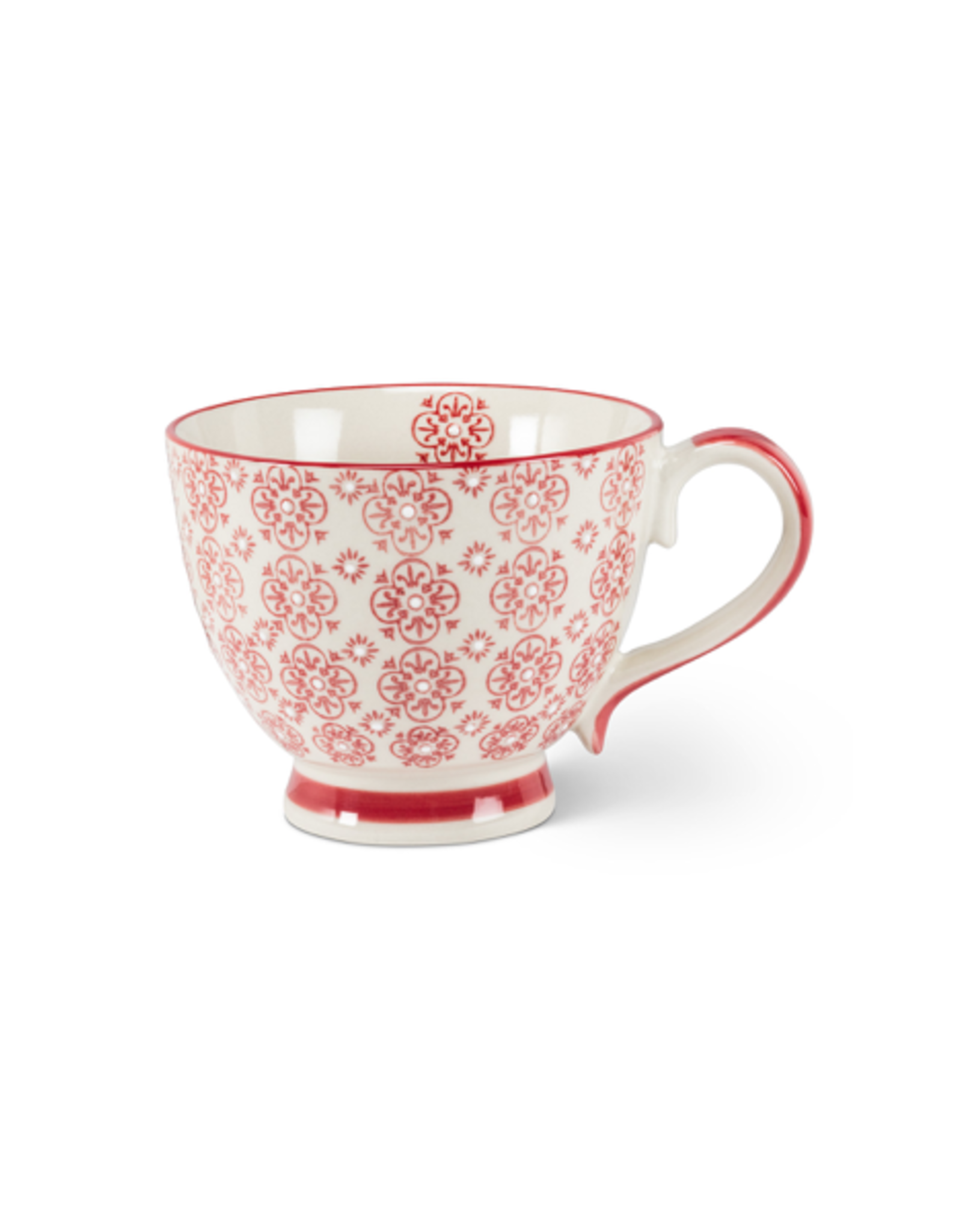 ATT - Mug/Red & White Flower, 12oz 4""