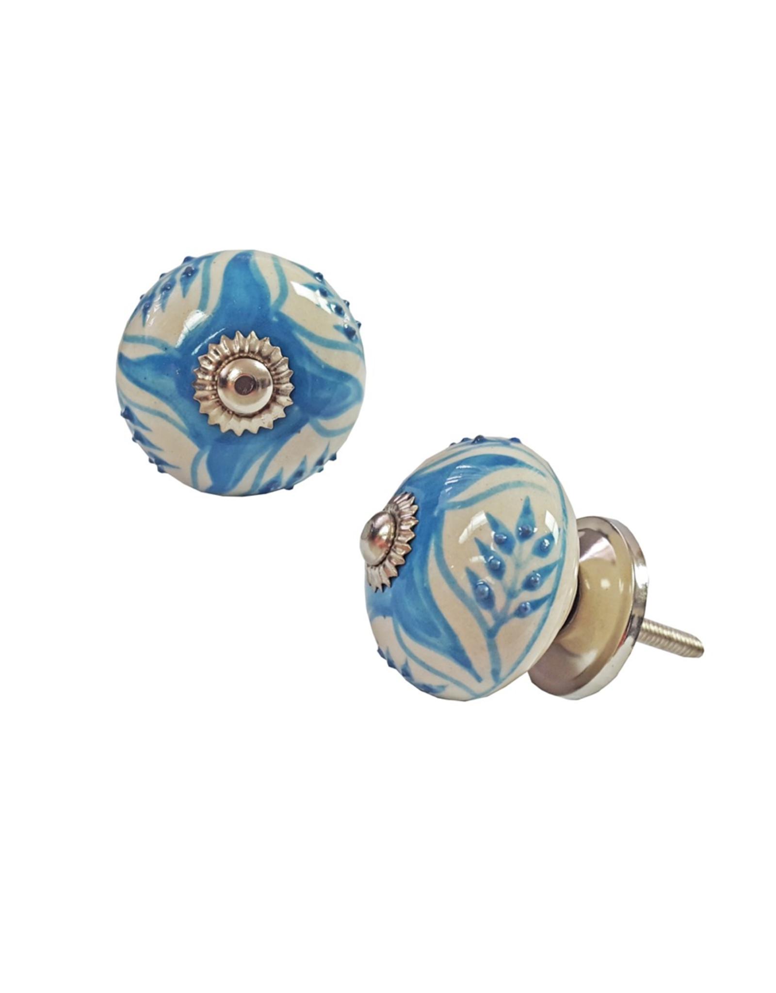 NTH - Knob / Blue Leaves, Ceramic