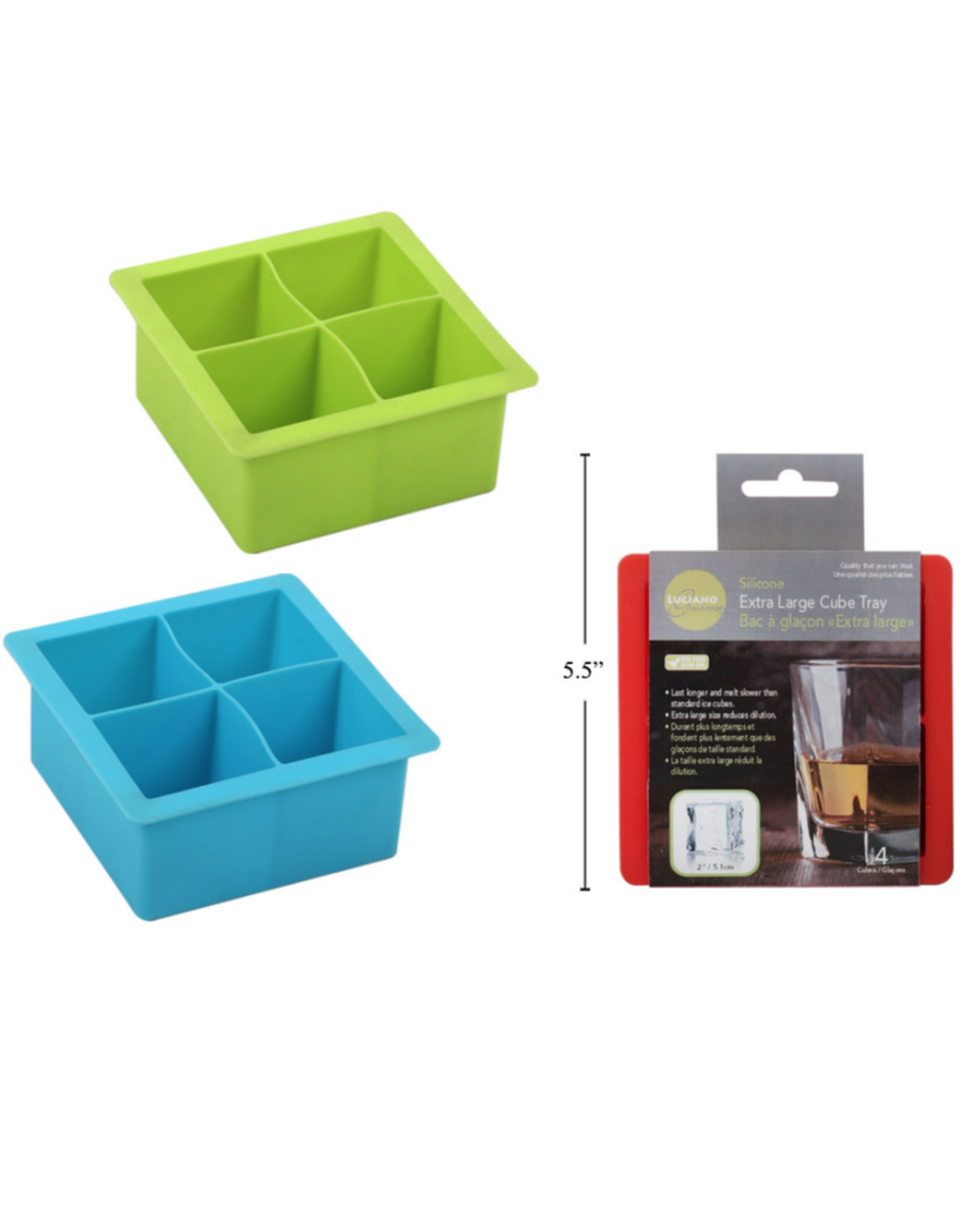 CTG - Ice Cube Tray/Silicone, 4 XL Cubes