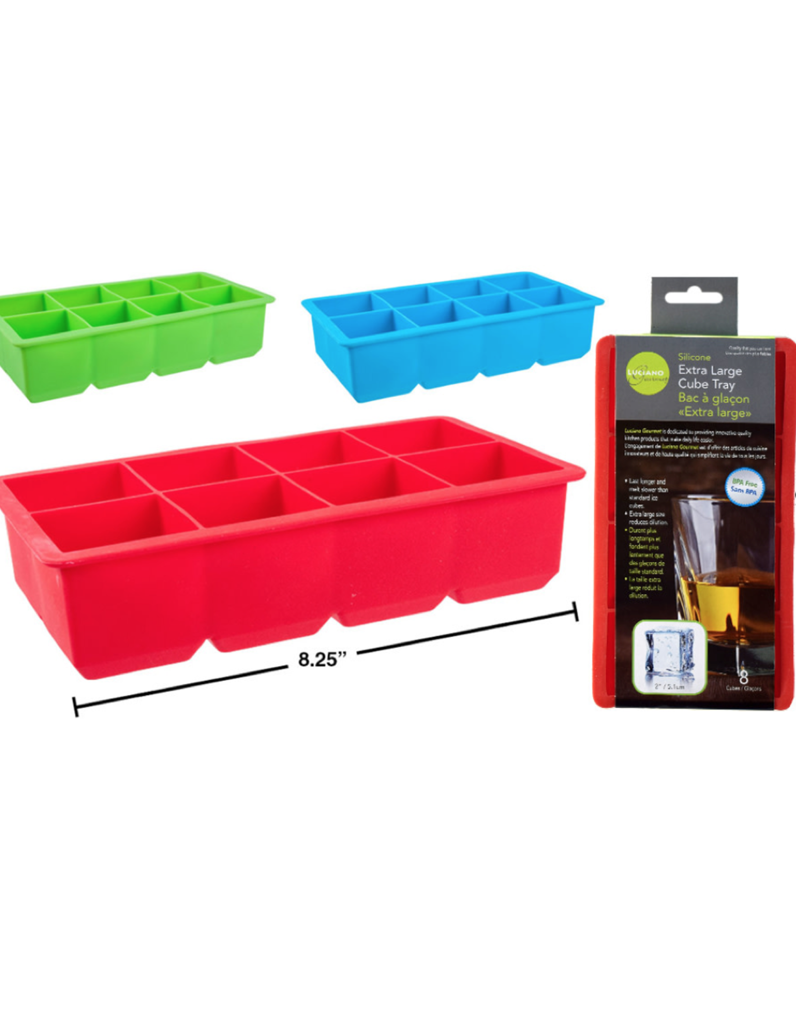 CTG - Ice Cube Tray/Silicone, 8 Large Cubes