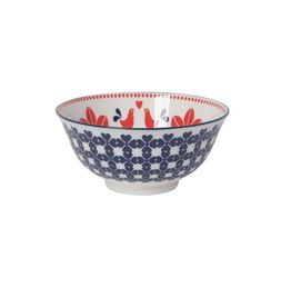 DCA - Bowl/Folk Bird, Red & Navy 6""