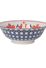 """DCA - Bowl / Folk Bird, Red & Navy, 8"""""""