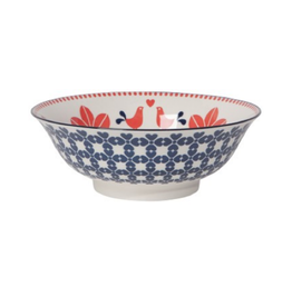 DCA - Bowl/Folk Bird, Red & Navy 8""