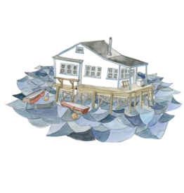 """Kat Frick Miller - Print/House On The Water 8 x 10"""""""