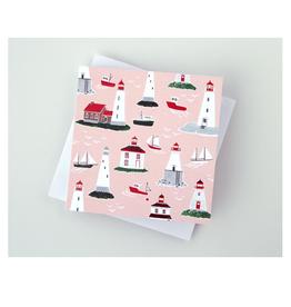 """Kat Frick Miller - Card / Lighthouses, 5.75 x 5.75"""""""