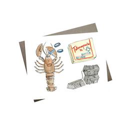 "Kat Frick Miller - Card / Lobster Dinner, 4.25 x 5.5"""