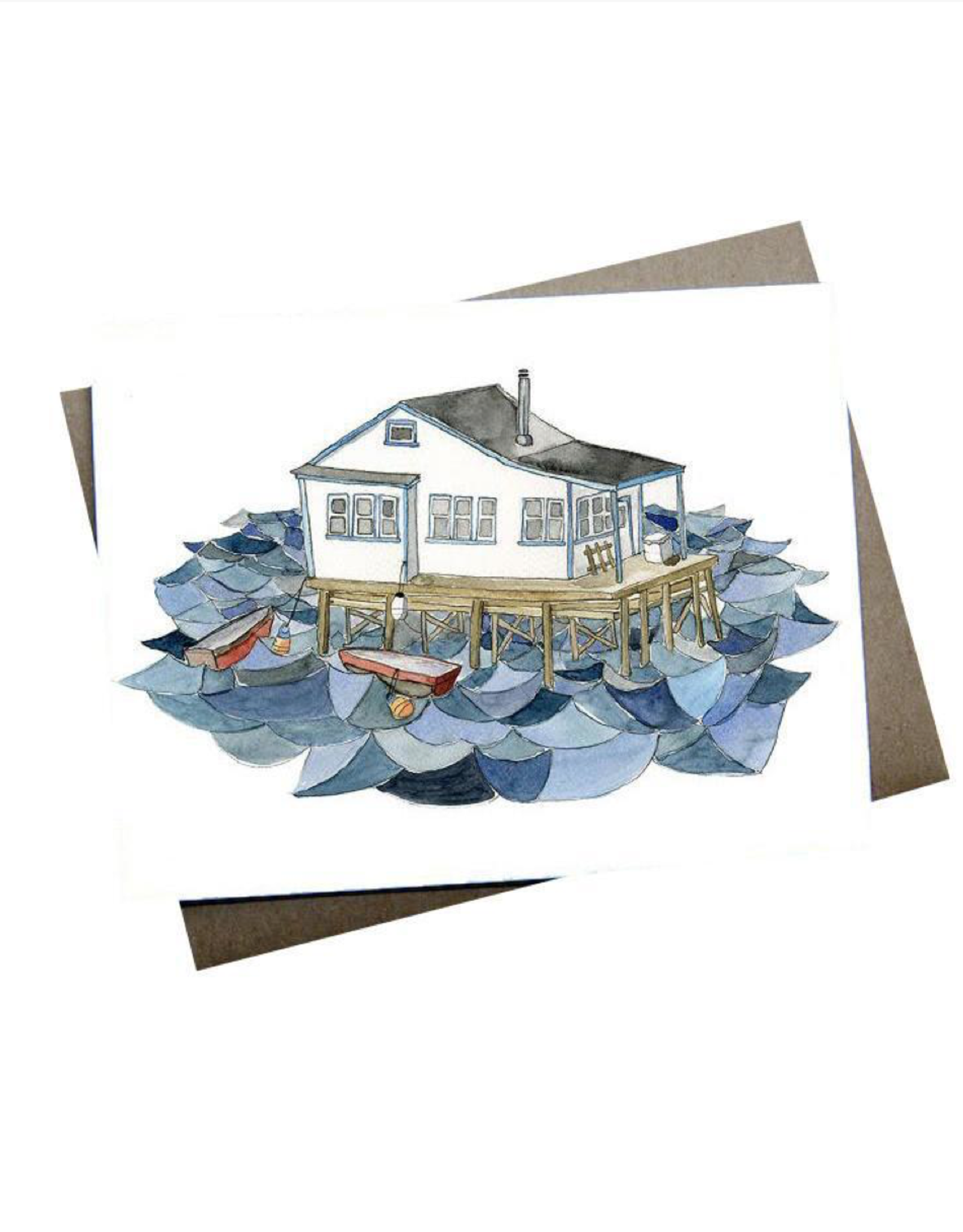 """Kat Frick Miller - Card / House On The Water, 4.25 x 5.5"""""""