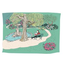 "Emma Fitzgerald - Print/Reading in the Public Gardens, 8.5 x 11"""