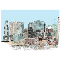 """Emma Fitzgerald - LOCAL ARTIST Print/Halifax Skyline 8.5"""" x 11"""""""